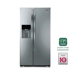 FRIGORIFERO LG SIDE BY SIDE GSL325PZCV 498 L INOX INVERTER TOTAL NO FROST DISPENSER ACQUA E GHIACCIO DISPLAY SOFT TOUCH LED CONGELAMENTO RAPIDO REFURBISHED CLASSE A+