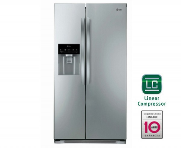 FRIGORIFERO LG SIDE BY SIDE GSL325PVCV INOX 498 L INVERTER TOTAL NO FROST DISPENSER ACQUA E GHIACCIO DISPLAY SOFT TOUCH LED CONGELAMENTO RAPIDO REFURBISHED CLASSE A+