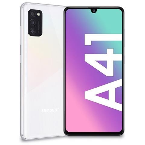 "SMARTPHONE SAMSUNG GALAXY A41 SM A415F DUAL SIM 64 GB OCTA CORE 6.1"" SUPER AMOLED 48 + 8 + 5 MP 4G LTE WIFI BLUETOOTH REFURBISHED PRISM CRUSH WHITE"