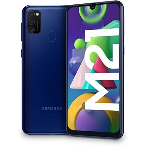 "SMARTPHONE SAMSUNG GALAXY M21 SM M215F 64 GB DUAL SIM OCTA CORE 6.4"" SUPER AMOLED 4G LTE WIFI BLUETOOTH TRIPLA FOTOCAMERA REFURBISHED BLU"