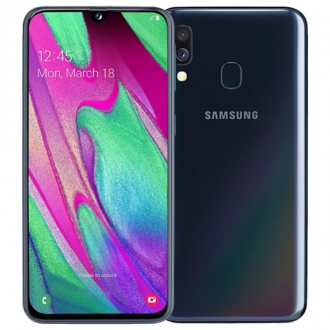 "SMARTPHONE SAMSUNG GALAXY A40 SM A405F DUAL SIM 64 GB OCTA CORE 5.9"" SUPER AMOLED 16 + 5 MP 4G LTE WIFI BLUETOOTH REFURBISHED BLACK"